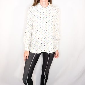 KATE SPADE Abstract Colorful Silk Button Down Top